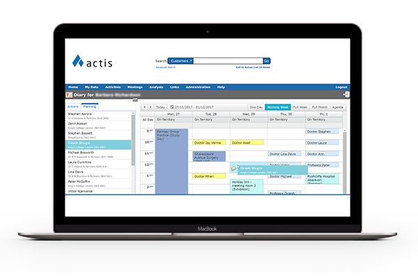 actisCRM - Pharmaceutical CRM on Macbook